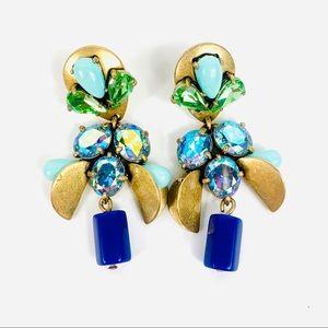 J. Crew Stone Crystals Chandelier Earrings Blue
